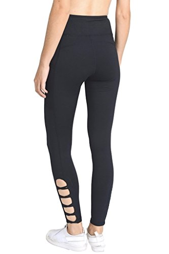 dc05bd37edf5d Galleon - Mono B Women's Performance Activewear - Yoga Leggings With Sleek  Contrast Mesh Panels (Medium, APH1660-BLK)