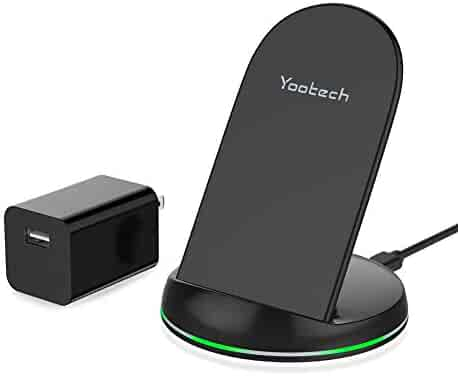 Yootech Wireless Charger Qi-Certified Wireless Charging Stand with Quick Adapter Compatible with iPhone Xs/XR/XS MAX/X/8/8 Plus,Galaxy Note9/S9/S9 Plus/Note8/S8 More(Quick Adapter Included) (Black)