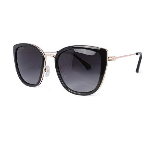 Hoyee Eyes Womens Polarized Cateye Sunglasses, UV Protection Retro Sunglasses Wayfarer Eyewear, Black Frame Smoke Gradient Lens