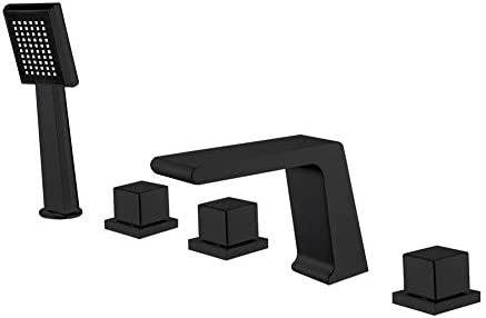 3つのハンドルシャワーヘッドハンドヘルドとの5穴5枚現代商業滝デッキマウント浴室のシンクの蛇口は、無料の黒いリード絵画設定しました