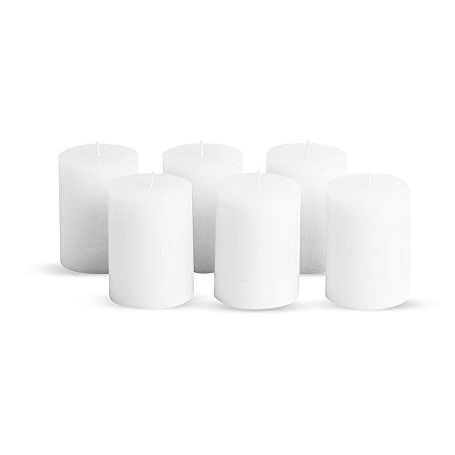 Simplicité Pillar Candles Unscented Set of 6 by in White Colour 3 inch by 4 inch | Hand-Poured Candles with Finest Wax Blend and German Cotton Wicks | Burn Time Upto 50 Hours by Simplicité