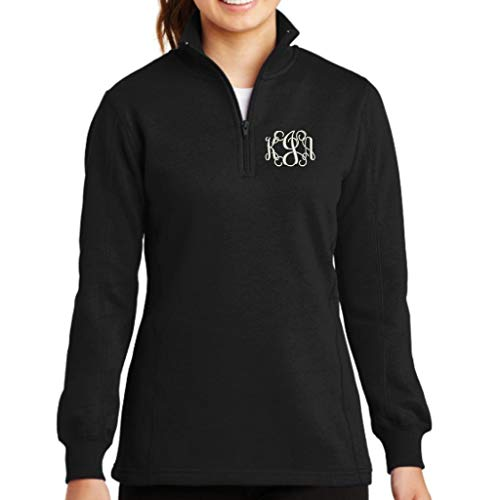 Lane Weston Monogrammed Quarter Zip Sweatshirt Pullover (Medium, Black)
