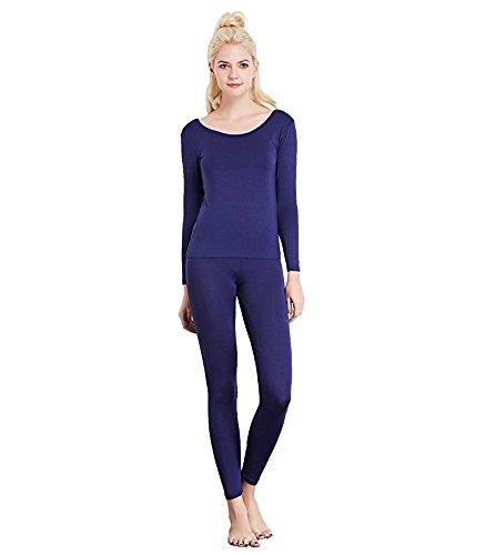 Liang Rou Women's Scoop Neck Long Johns Ultra Thin Thermal Underwear Set Navy Blue M (Blue Thermal Underwear)