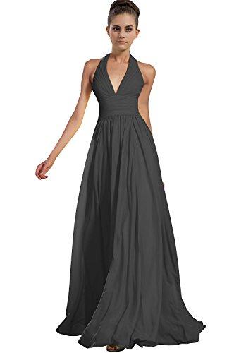 fb11ed2dfaa ... Women Chiffon Halter Neck Bridesmaid Dresses Prom Gowns J276LF Dark  Gray US16.   
