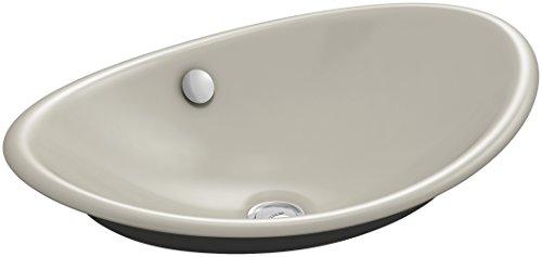 KOHLER K-5403-P5-G9  Iron Plains Wading Pool Oval Bathroom Sink with Iron Black Painted Underside, Sandbar (Sink G9 Kitchen Sandbar)
