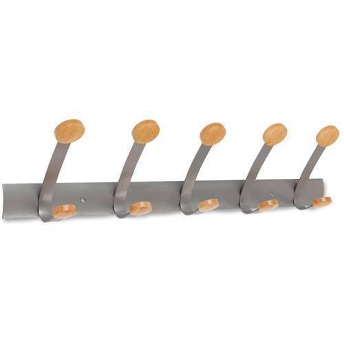 PMV5 Alba Hook Panel - 5, 5 Peg, Hook - 220.46 lb (100 kg) CapacityMetal, Wood Hook, Peg - Cherry, Silver by Alba