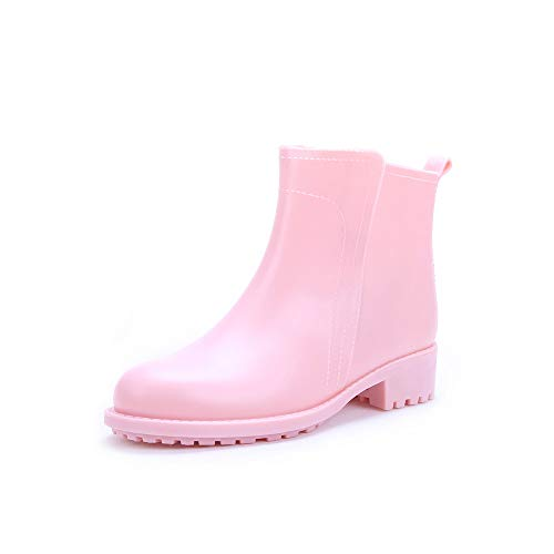Rojo Peng Al Mujeres 3 Lluvia Botines Rosado Adultas Aire 1 EU 37 sounded Tobillo Antideslizantes señoras Impermeable Libre Zapatos Impermeables Color tamaño wwqSrZ5