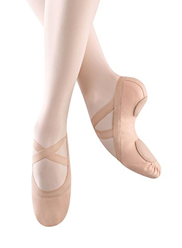 Bloch Dance Women's Synchrony Split Sole Stretch Canvas Ballet Slipper/Shoe, Pink, 6.5 Narrow -