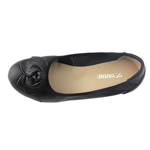 Chaussures Talons Pour Cuir En Noir Femmes Compenss HHrxqT