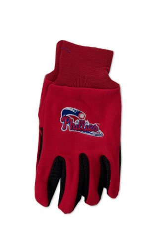 MLB Philadelphia Phillies Two-Tone Gloves, Red/Black (Tone Cotton Two Mlb)