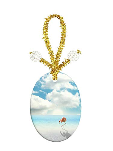 Oval Porcelain Pendant Jewelry - Eunice Beach Flamingos Porcelain Ornament Crafts Oval Porcelain Christmas Decorations Home Hanging Jewelry Gift Souvenir