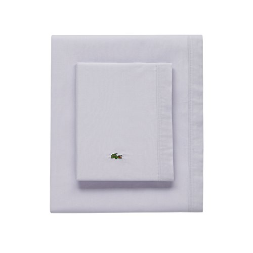 - Lacoste 100% Cotton Percale Sheet Set, Solid, Light Grey, King