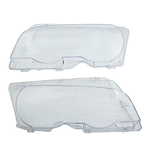 (X AUTOHAUX 2pcs Left Right Headlight Headlamp Lens Plastic Cover for BMW E46 2D 99-03 2 Door)