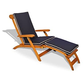 Teak Steamer Chair With Cushion (Navy W Canvas Piping)