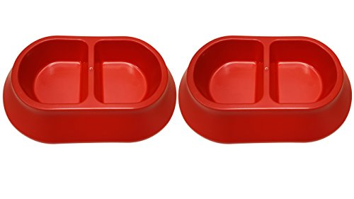 Oblong Divided - Set of 2 Large Pet Bowls! 3 Different Styles and 6 Different Metallic Colors! BPA FREE! (Oblong Red 2pk)