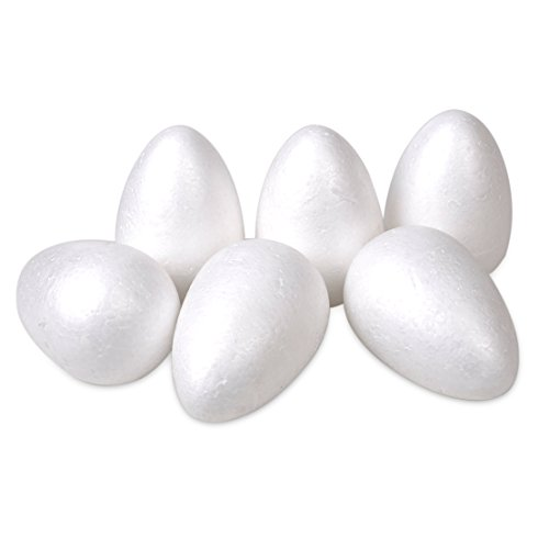 6 Stück weiß Eier Styroporeier Oval Osterschmuck Osterbasteln 12cm Oster-Ei