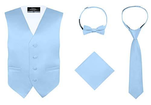 Bow Tie Light - S.H. Churchill & Co. Boy's 4 Piece Vest Set, with Bow Tie, Neck Tie & Pocket Hankie, Light Blue Size 16