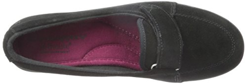 Grasshoppers Womens Shelborne Slip-On Flat Black Suede 5PZu14X8a