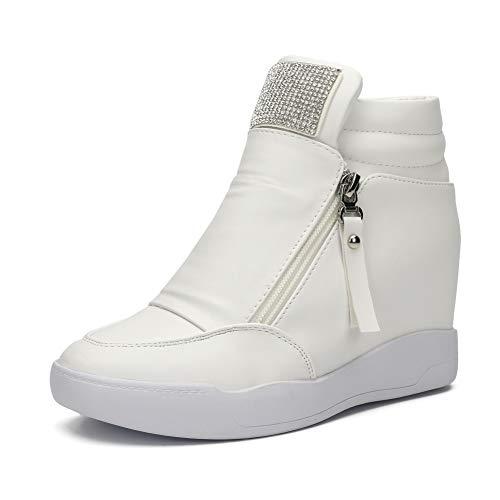 (LIURUIJIA Women Hidden Wedges Ankle Boots Fashion Sneaker High Top Flats Platform Casual White 2-39(39/US7.5))