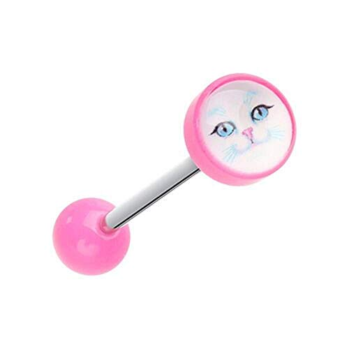 - Covet Jewelry Kitty Cat Face Acrylic Logo Barbell