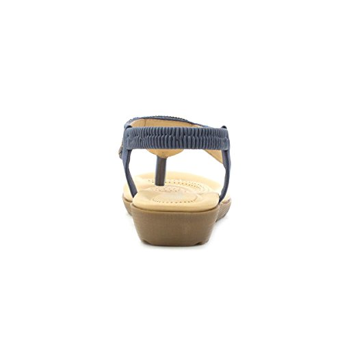 Lilley - Zehe-Pfosten-Komfort Sandale im Blau mit Juwelen für Frauen durch Lilley Blau
