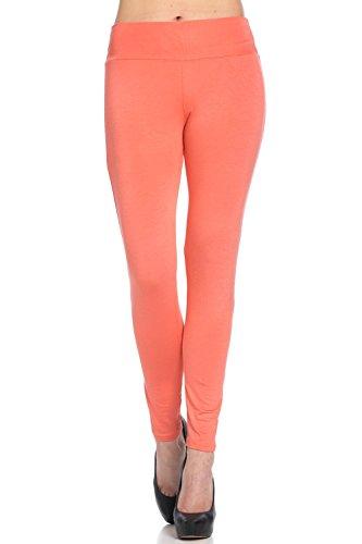 Frumos Womens Activewear Leggings Full Ankle Length Yoga Pants Leggings Coral 3X-Large