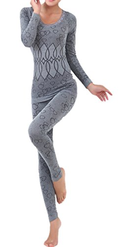 LANBAOSI Women's Lace Stretch Seamless Top & Bottom Thermal Underwear Set