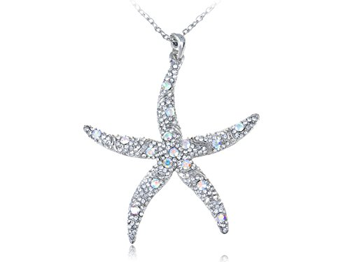Alilang Silvery Tone Crystal Rhinestone Ocean Starfish Beach Pendant Necklace (Tone Starfish Pendant)