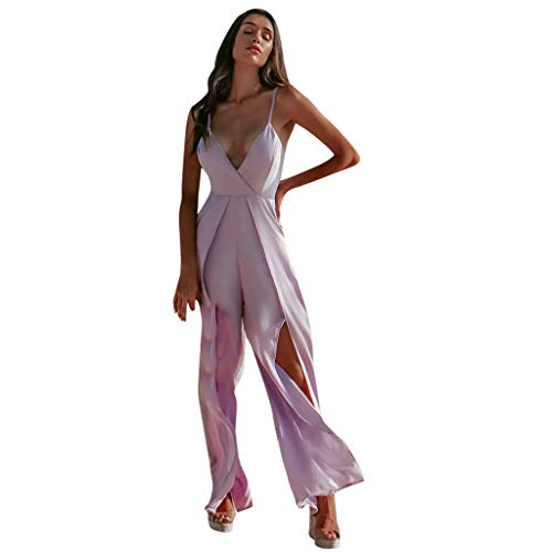 (Alangbudu Women's Jumpsuits Rompers V Neck Spaghetti Strap Crossover Front Split Long Wide Leg Baggy Pants Overalls Purple)
