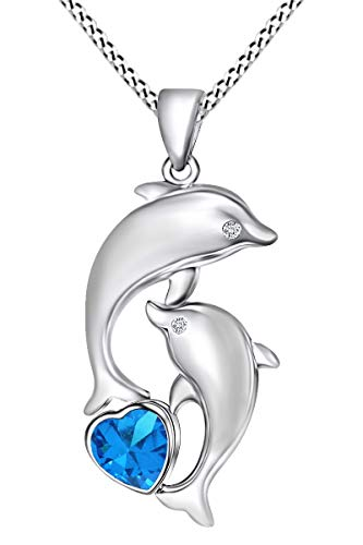 AFFY Heart Simulated Blue Topaz & White Cubic Zirconia Mother Child Dolphin Pendant Necklace in 14k White Gold Over Sterling Silver