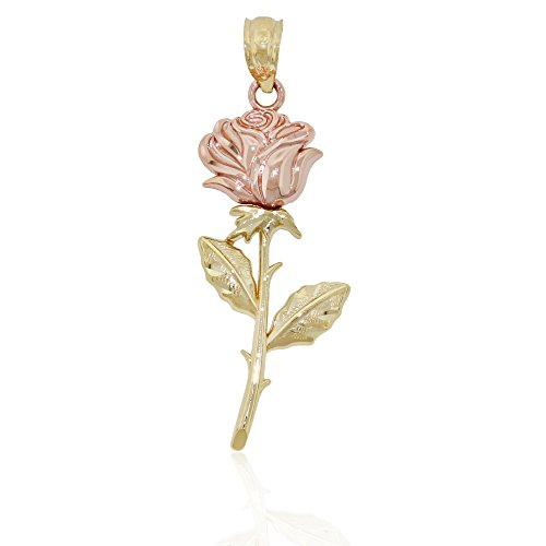 14k Two Tone Charms - Gold Two-tone Rose Charm, 14k Solid Yellow and Rose Gold