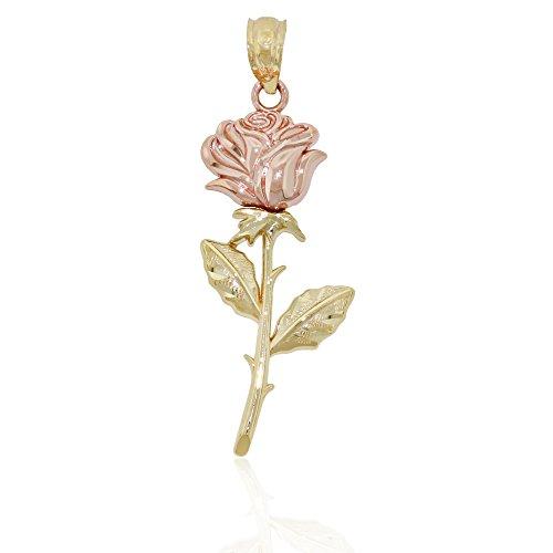 Charm America Gold Two-tone Rose Charm - 14 Karat Solid Yellow and Rose Gold 14k Yellow Gold Rose Charm