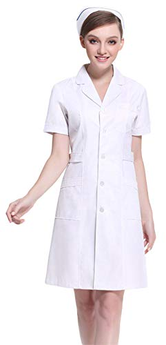 AvaCostume Women's Button Front Solid Hospital Nurse Scrub Dress, Whites S -