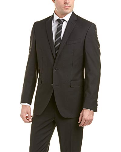 Kenneth Cole New York Men's Slim Fit 2 Button Suit with Side Vent, Black Stripe, 48 Regular from Kenneth Cole New York