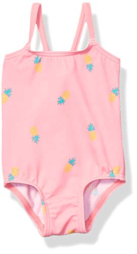 Amazon Essentials Baby Girls One-Piece Swimsuit, Pink Pineapple, 12M