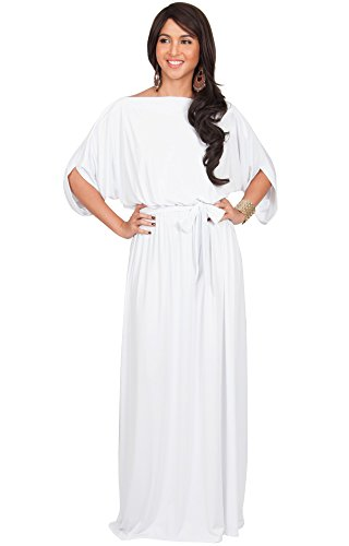 KOH KOH Womens Long Flowy Casual Short Half Sleeve with Sleeves Fall Winter Floor Length Evening Modest A-line Formal Maternity Gown Gowns Maxi Dress Dresses, White L 12-14