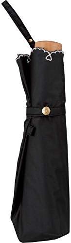 ワールドパーティー(Wpc.)日傘折りたたみ傘レディース傘袋付き遮光軽量ハートスカラップ50cm801-2448BK 黒 サイズ:25×4×4cm
