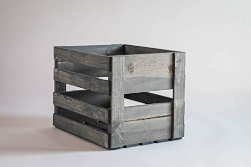 Record Holders Card - Darla'Studio 66 Antique Gray Vinyl Record Holder Wood Crate