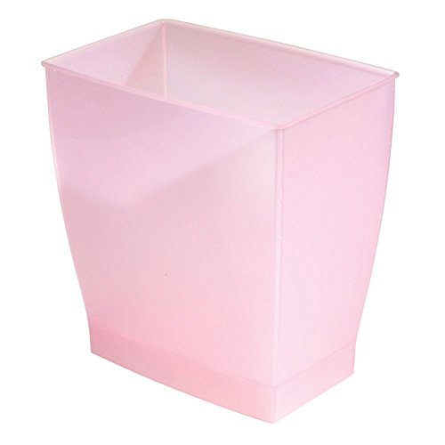 InterDesign Spa Rectangular Trash, Waste Basket Garbage Can for Bathroom, Bedroom, Home Office, Dorm, College, 2.5 Gallon, Pink