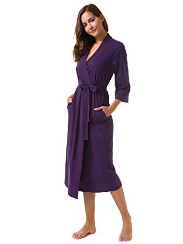 SIORO Cotton Robes Soft Kimono Robe Long Knit Bathrobe Nightwear Lightweight Loungewear Nightdress V-Neck Sexy Sleepwear for Women, Eggplant, L