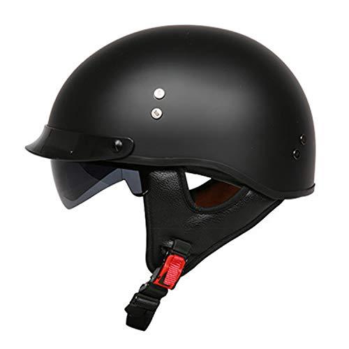 FlyingBoy FRP Motorcycle Half Helmet, Open Face Motorcycle Helmet Personality Retro Half Helmet Cruiser Scooter Scooter Short Half Helmet DOT Approved Men and Women (M, L, XL, XXL),12,L