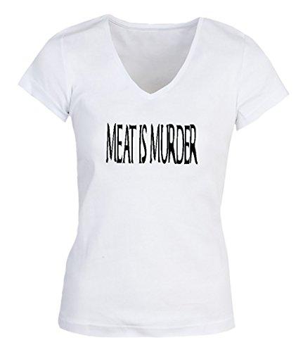 Meat Is Murder Vegan Veganism Vegeterian Damen V-neck T-shirt