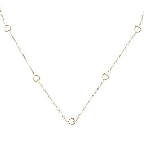 Jewellery World Bague en or jaune 9carats Cœur découpé Collier réglable à 18,16et 35,6cm