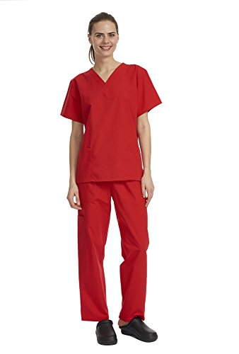 Denice / Solid Set / Missy Fit / Multiple Pockets / Women / Medical Scrub 282 (Medium, Red)