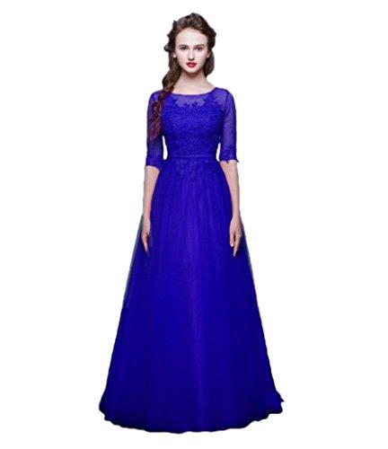 Vimans Women's Boat-Neck Solid Three-Quarter-Sleeve Long Gown Dress, Royal, 20 Plus