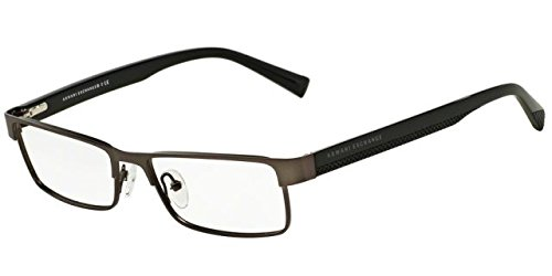 Armani Exchange AX1009 Eyeglass Frames 6037-53 - Satin Gunmetal/Black - Glasses Armani Frame