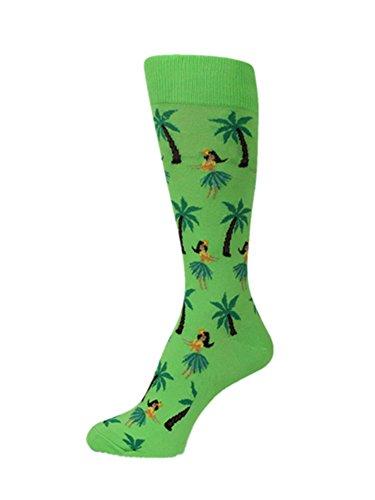 (PolyMedea Neon Green with Hula Girls Polynesian Palm Tree Theme Mans socks )