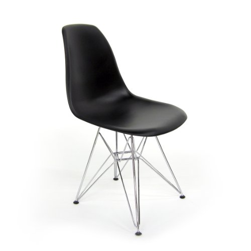 AEON Paris Black Matte Molded ABS Injected Plastic Shell Side Chair on a Chromed Steel Eiffel Base, (Set of 2)