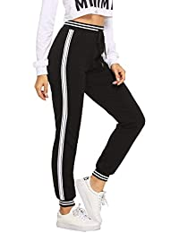 Women Pants Color Block Casual Tie Waist Yoga Jogger Pants