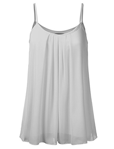 SSOULM Women's Pleated Chiffon Layered Cami Cool Short Tank Tunic Top Silver S -
